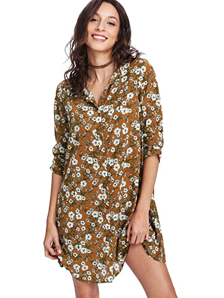 506310132f1e1 Romwe Women's Loose Fit Long Sleeves Button Down Summer Flower Print Floral  Mini Shirt Dress Yellow M at Amazon Women's Clothing store: