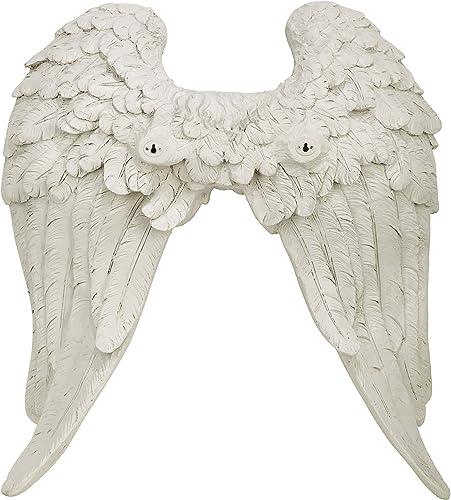 Design Toscano EU20780 Heavenly Guardian Angel Wings Wall Sculpture,Antique Stone
