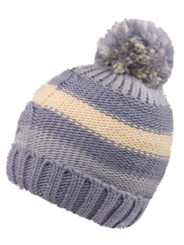 KEA KEA Children/Kids Chunky Pompom Striped Knit Beanie Boys/Girls Winter Hat Ski Cap