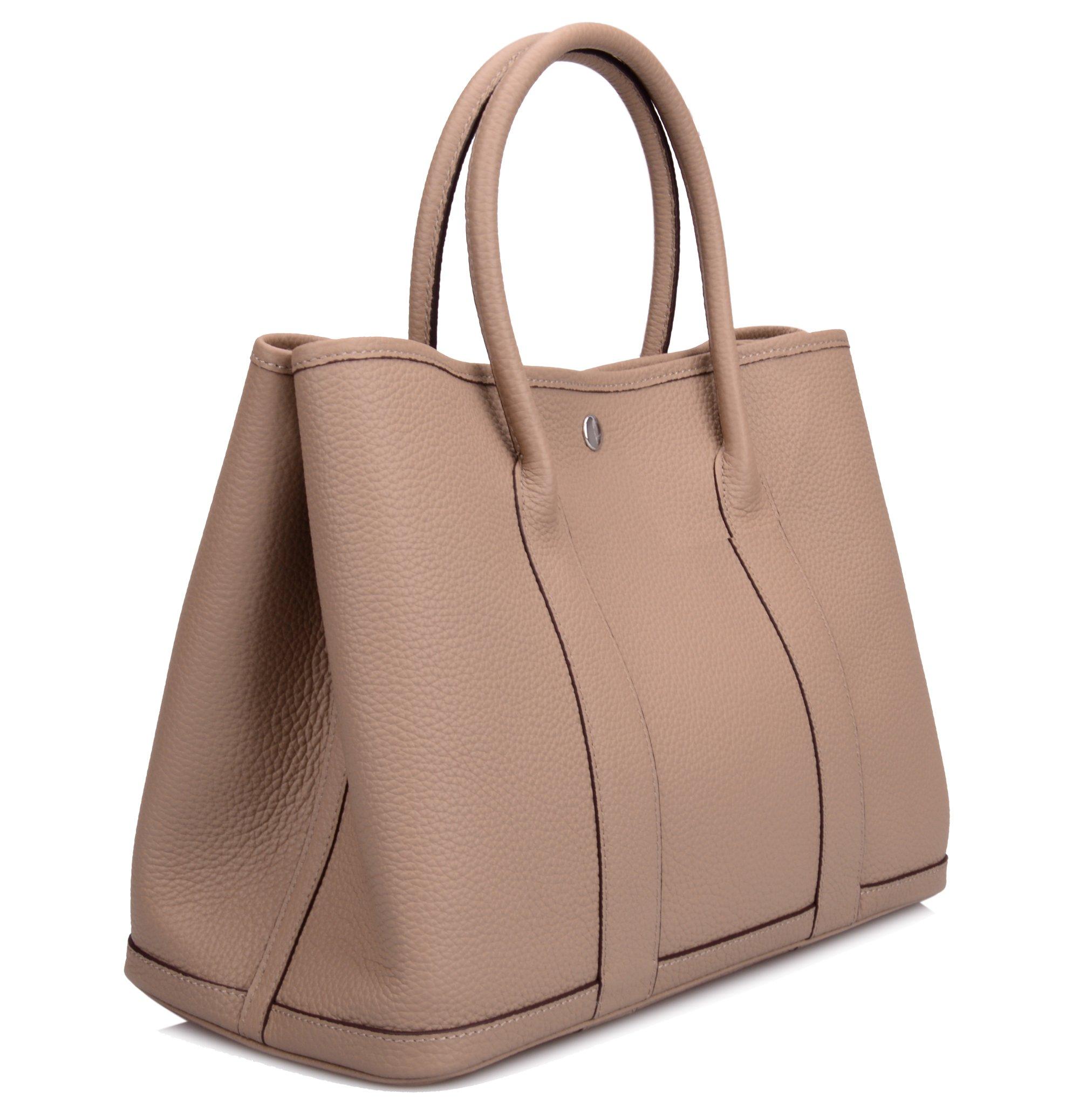 Ainifeel Women's Genuine Leather Top Handle Handbag Shopping Bag Tote Bag (Taupe)
