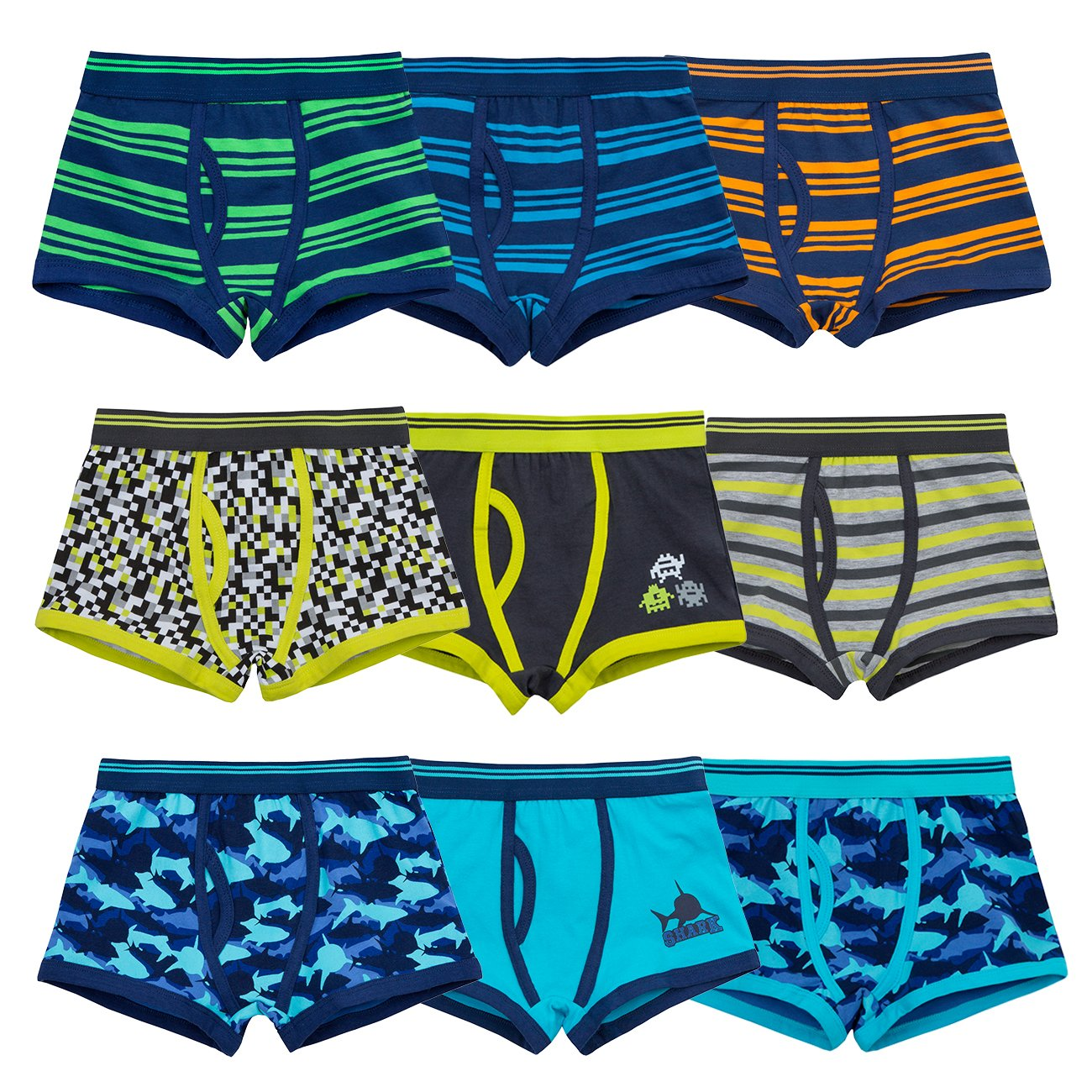 4 KIDZ Multi Pack Boys Trunk Fit Boxers Underwear Cotton Shorts Shark Stripes 2-13 yrs 9 Pack