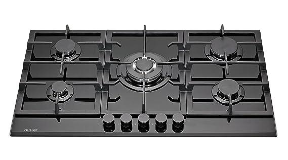 949cf15784c225 Millar GH9051TB Plaques de cuisson en Verre trempé avec 5 brûleurs à gaz  Noir 90 cm