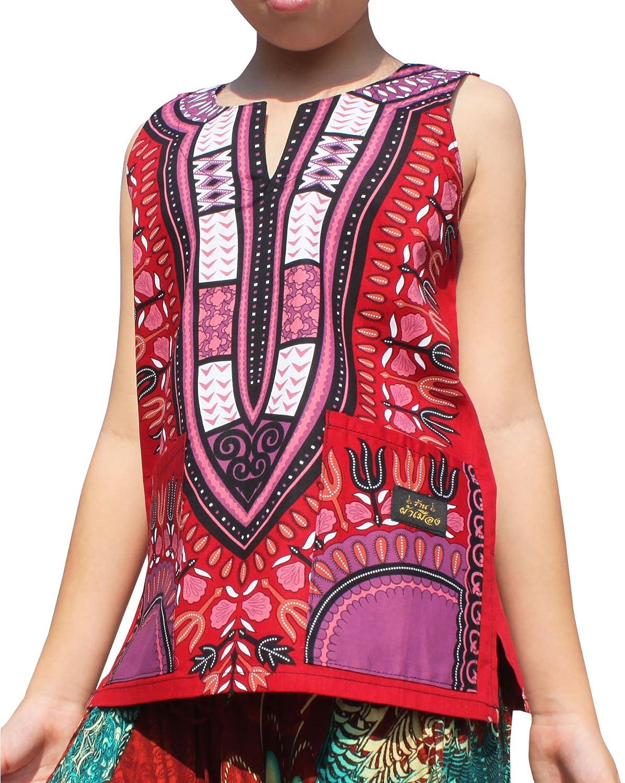 RaanPahMuang Brand Dashiki Childrens Cotton Summer Vest Shirt in Bold Colours