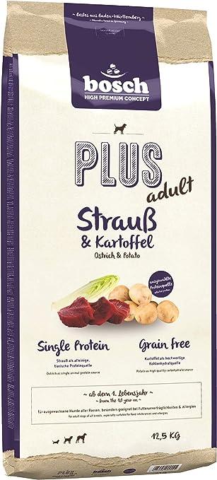 bosch HPC PLUS Adult | Avestruz y Patata | Comida seca para perros adultos de todas las razas | Single Protein | Sin Cereales | 12,5 kg