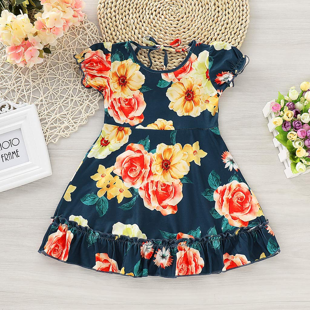 f2185973df Amazon.com: Cute Toddler Baby Girls Floral Summer Dresses Ruffle Short  Sleeve Flowy Princess Mini Beach Sundress: Clothing