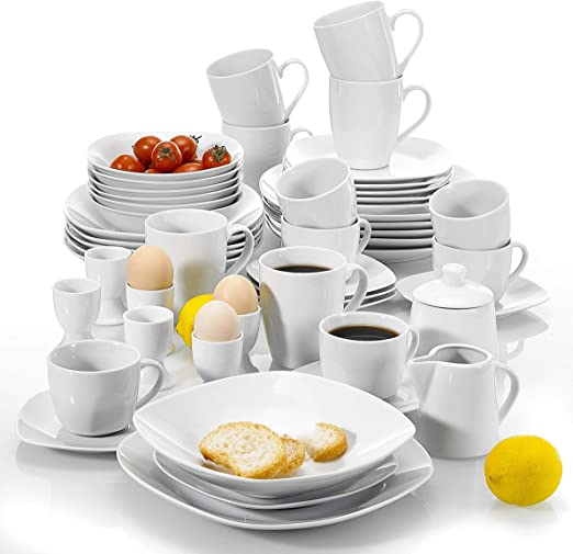 Malacasa Series Elisa 50 Piece White Dinner Set With 6 Cups And 6 Saucers 6 Mugs 6 Egg Cups 6 Cereal Bowls 6 Dessert Plates 6 Soup Plates 6 Flat Plates Amazon Co Uk Kitchen Home