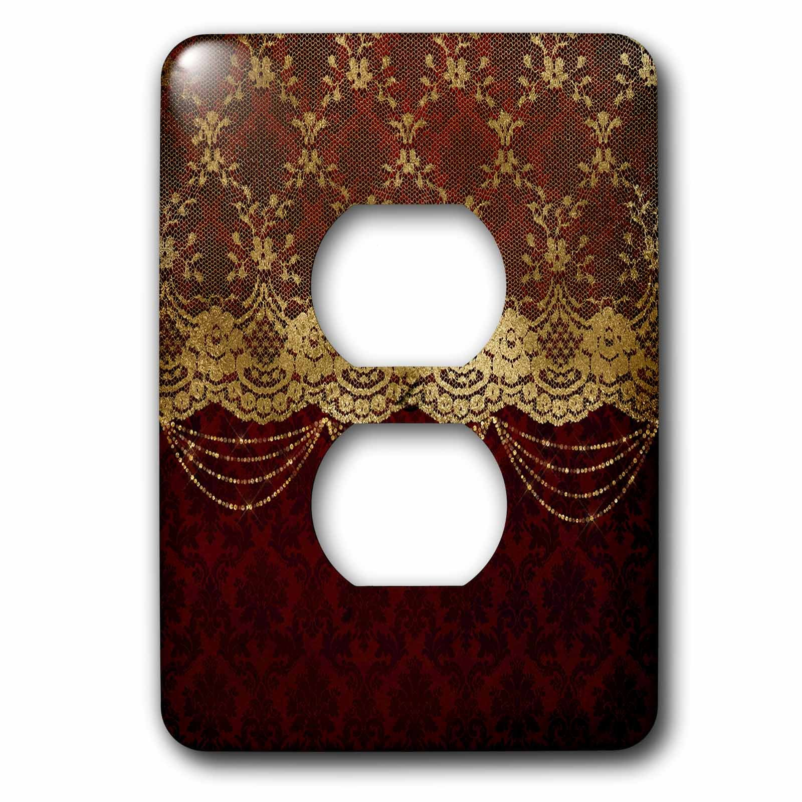 3D Rose lsp_255627_6 Gold Floral Luxury Lace with Chain on Dark Red Damask Background 2 Plug Outlet Cover by 3D Rose (Image #1)