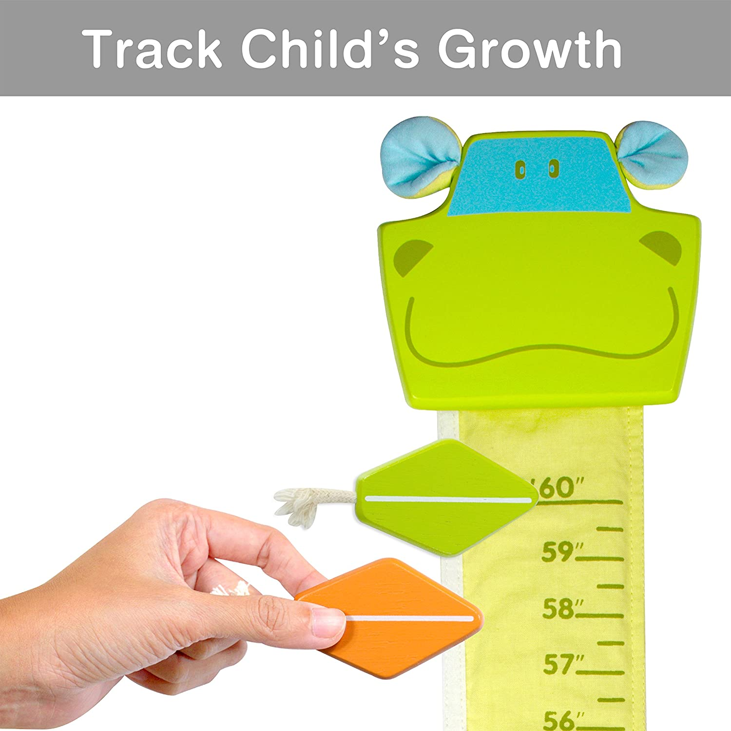 Height Measurement Scale Im Wood and Fabric Wall Growth Chart Cow Ruler for Kids