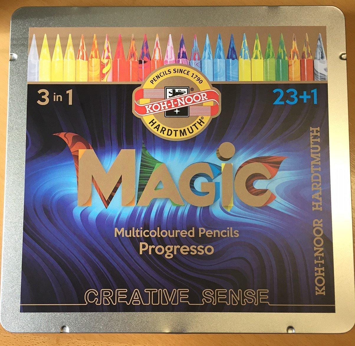 Koh-I-Noor Hardtmuth Progresso, Set of Woodless Color Pencils - MAGIC, Multi-coloured Pencils in Metal Box, 23+1