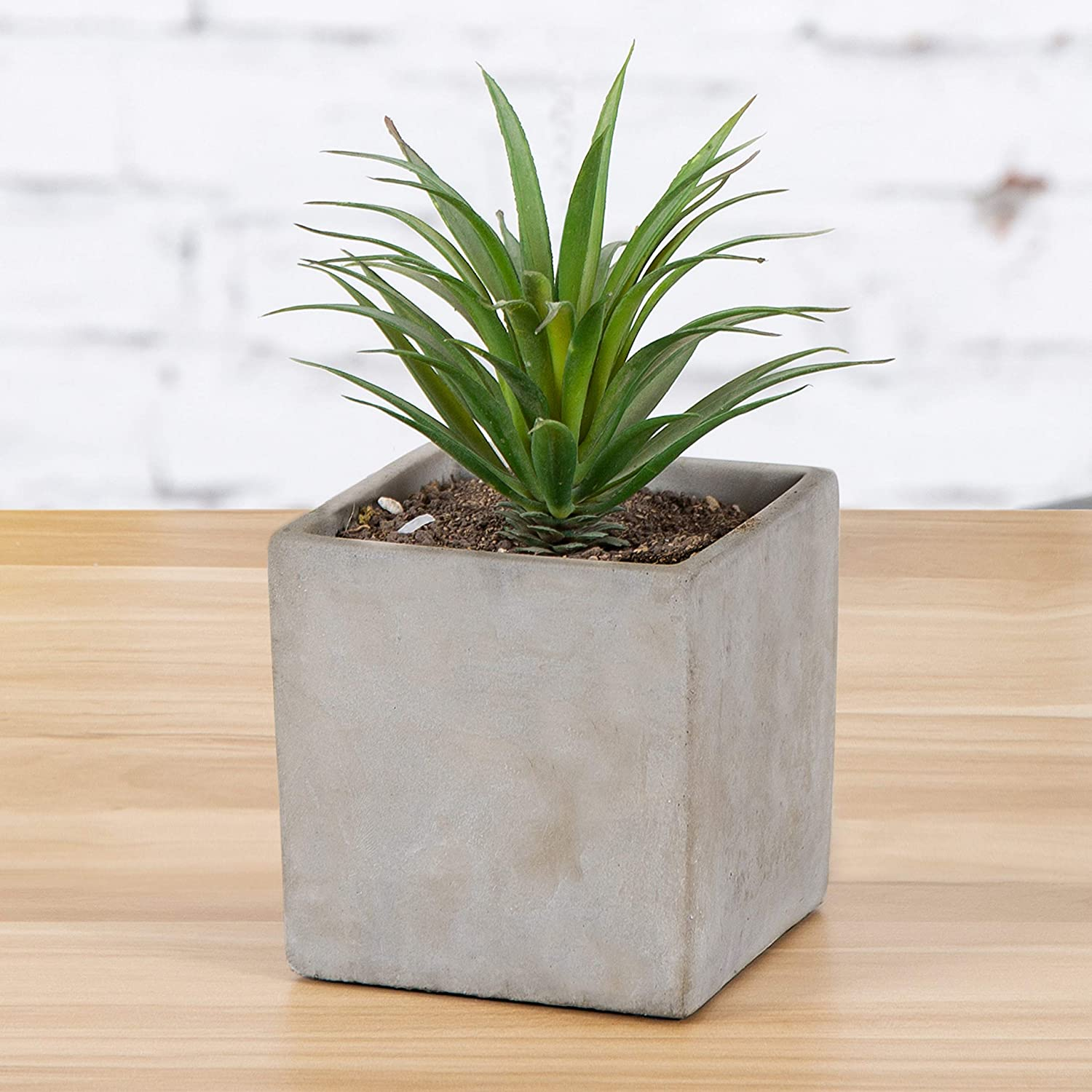 MyGift 4-Inch Cement-Tone Clay Cube Succulent Planter Pot