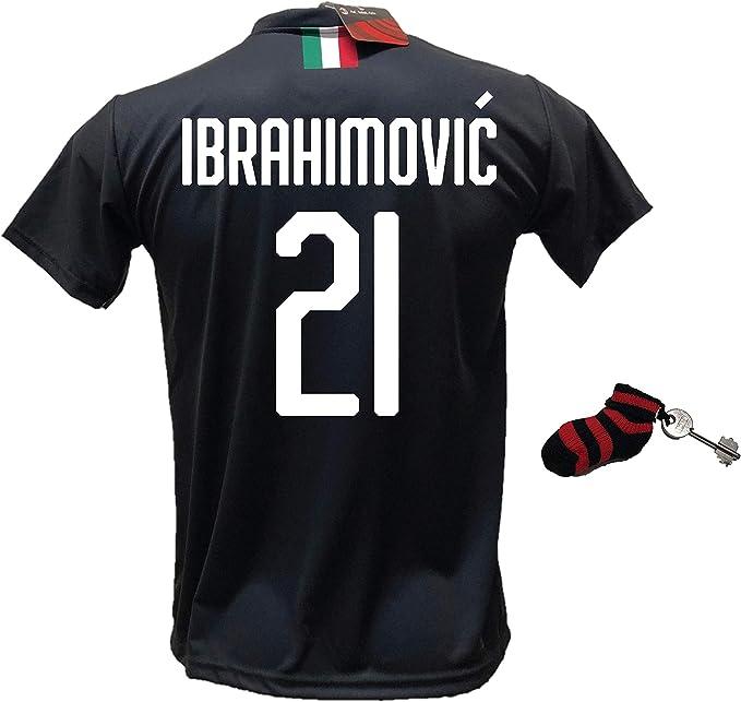 DND Di DAndolfo Ciro Tercera Camiseta Zlatan Ibrahimovic 21 Milan Negra Away Fútbol Réplica autorizada 2019-2020 Tallas para niño y adulto con regalo calcetín llavero rossonero: Amazon.es: Deportes y aire libre