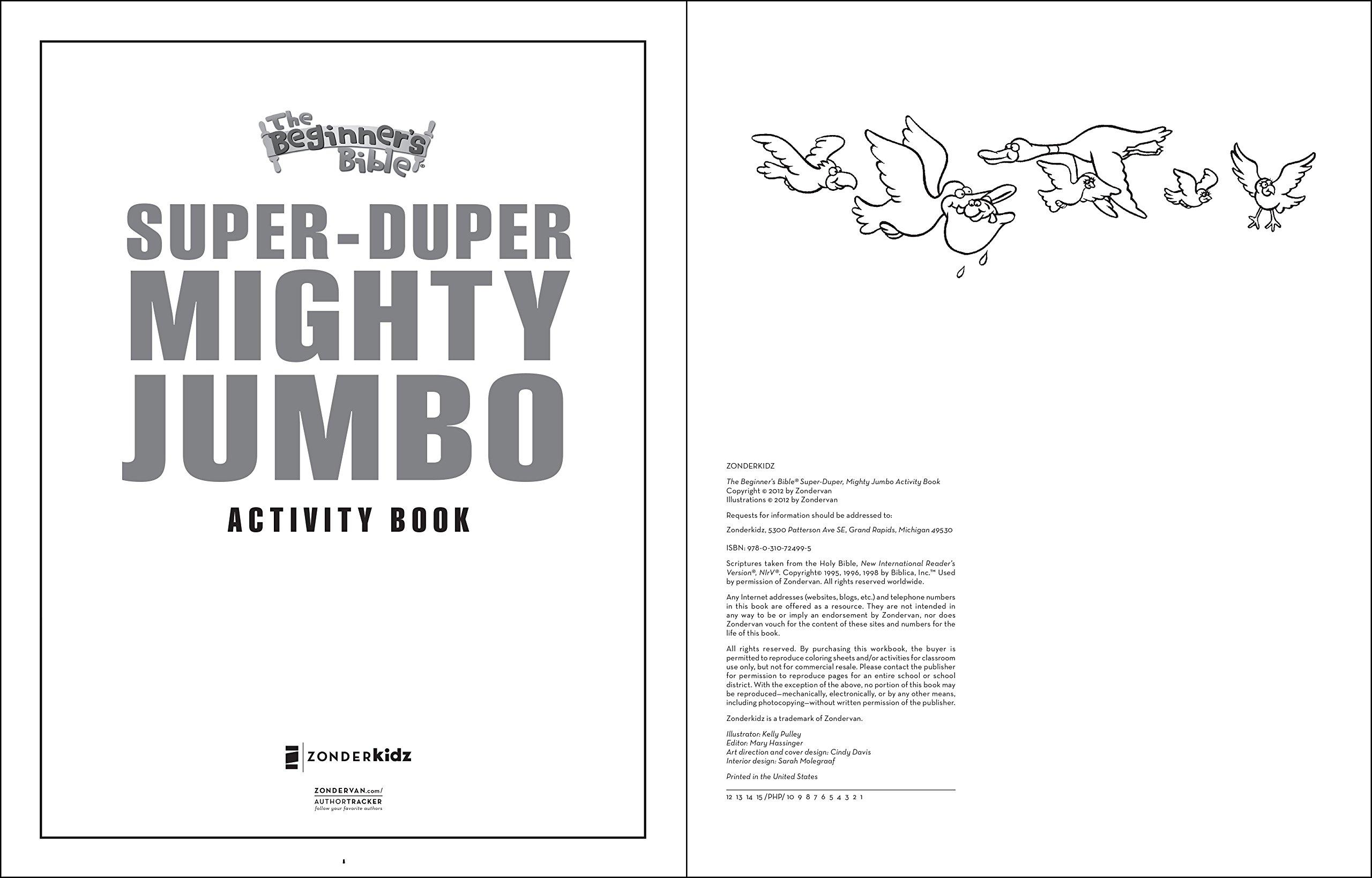 The Beginners Bible Super Duper Mighty Jumbo Activity Book Zondervan 9780310724995 Amazon Books