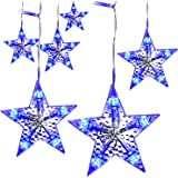 LightsEtc 280 LED String Light Curtain 9.8ft x 6.5ft Fairy Star Blue Icicle Window Lights