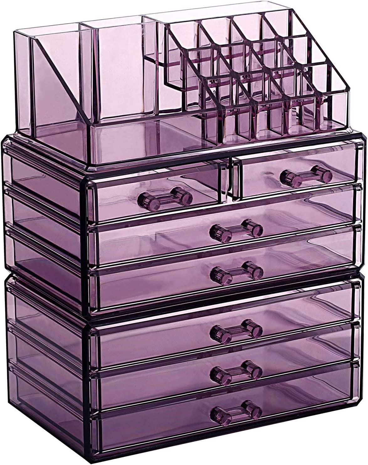 Ikee Design Makeup Organizer Jewelry Storage Case 3 Pieces Set, Purple