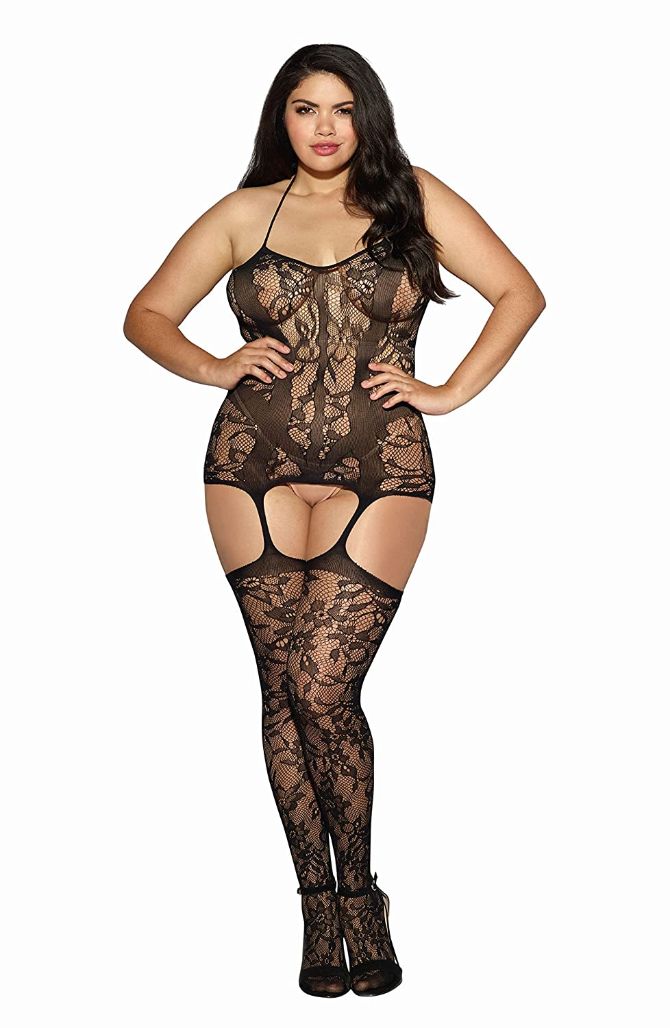 Dreamgirl Women's Plus-Size Trinidad Halter Garter Dress With Attached Stockings Black One Size Dreamgirl International 0145X
