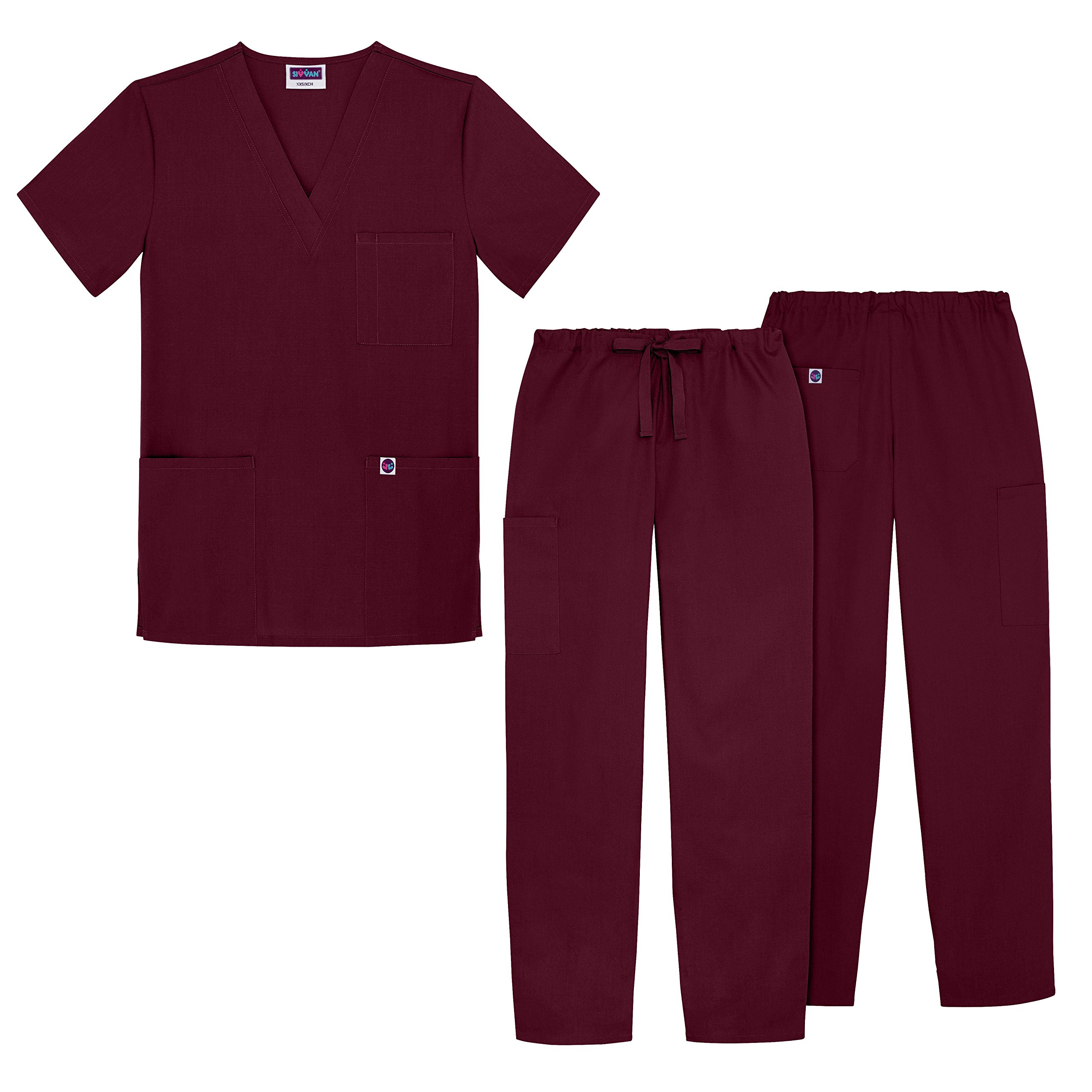 Sivvan Unisex Classic Scrub Set V-neck Top / Drawstring Pants (Available in 12 Solid Colors) - S8400 - Burgundy - M