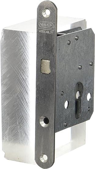 nemef 9751620009 Puerta Corredera Cerradura con arco cerrojo Incluye Cerradero, niquelado, mandril: 45 mm: Amazon.es: Bricolaje y herramientas