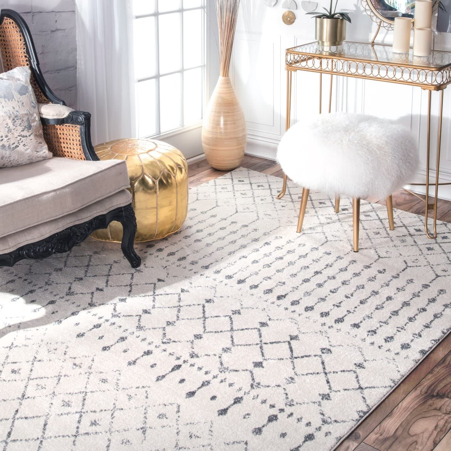nuLOOM Moroccan Blythe Accent Rug, 2 x 3 , Grey Off-white