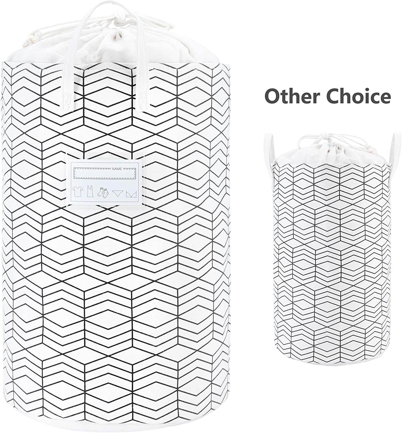 """23.6"""" Large Foldable Laundry Basket Collapsible Clothes Hamper Drawstring Waterproof Laundry Hamper Round Cotton Linen Storage Baskets Home Organizer(Black and White Grids)"""
