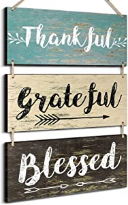 Jetec 3 Pieces Rustic Wooden Board Hanging Signs Decor Thankful Grateful Blessed Wooden Signs Farmhouse Wall Decor for Living Room Bedroom Bathroom, 11.8 x 6 Inch