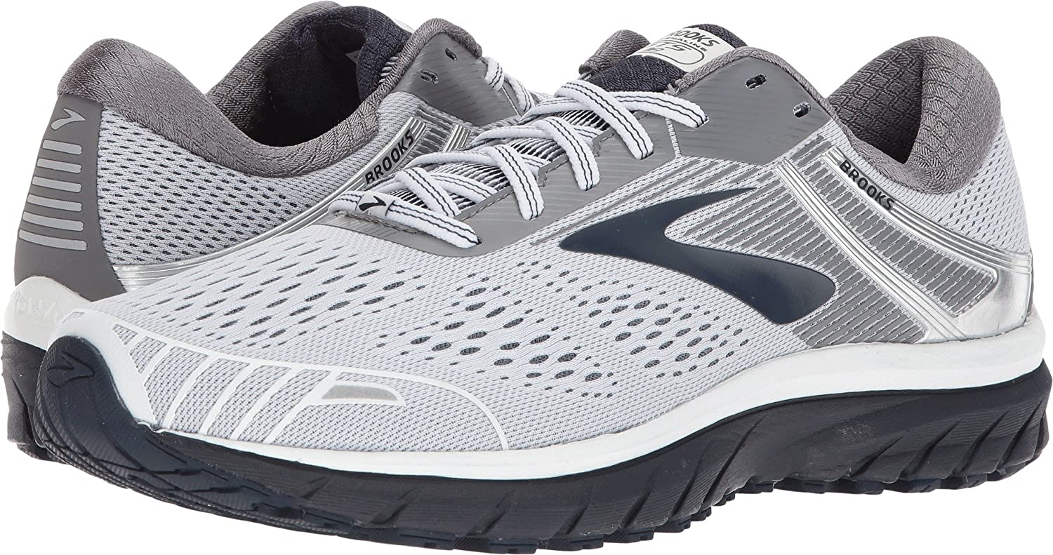 36cccd9e6101 Amazon.com | Brooks Men's Adrenaline GTS 18 White/Grey/Navy 8.5 D US | Road  Running