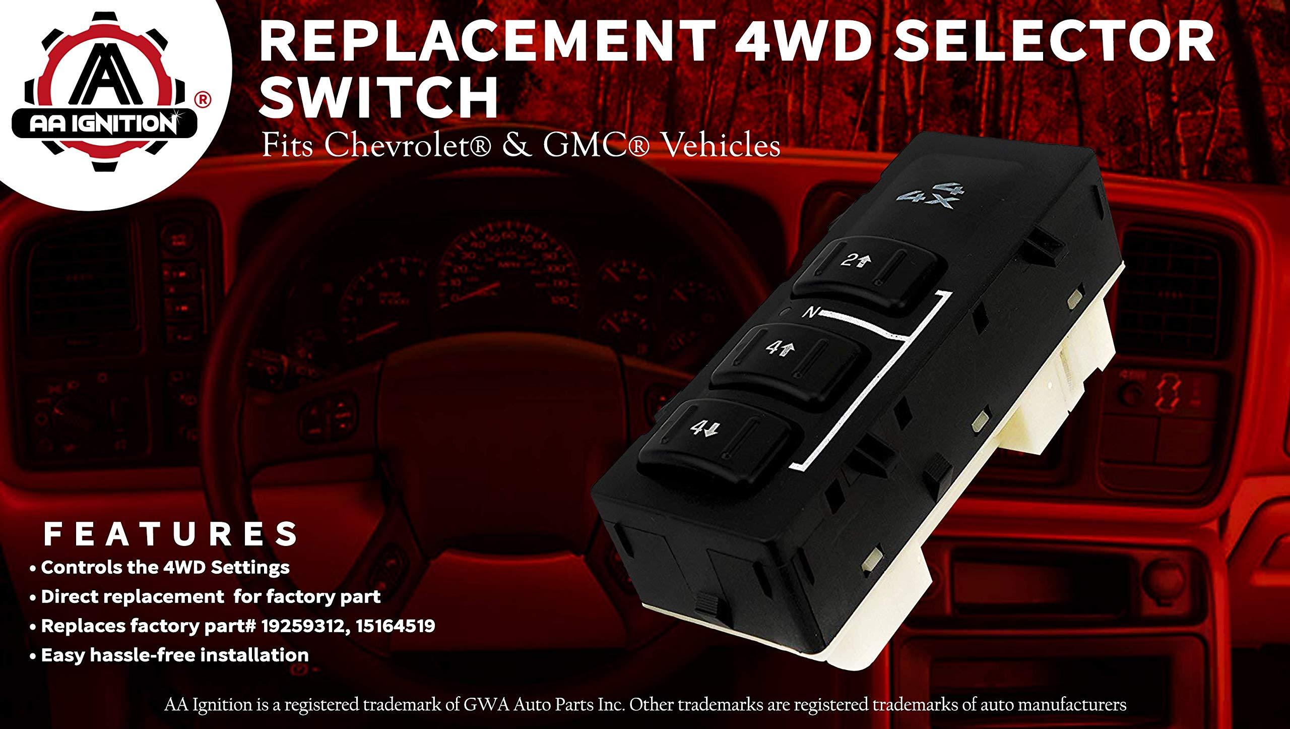 4wd Selector Switch 4x4 Fits Chevy Silverado Suburban Avalanche 2003 Gmc Transfer Case Identification Yukon Xl Sierra 2007 Replaces 19259312 15164519 15136040 4 Wheel Drive For Chevrolet Four