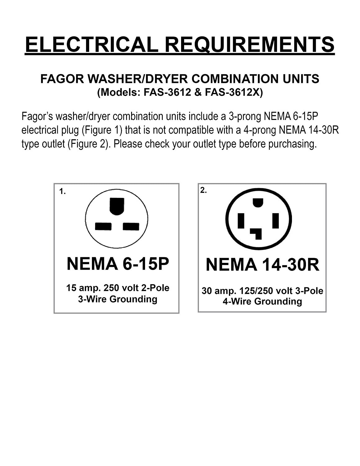 Amazon com: Fagor FAS3612X 24-Inch Washer/Dryer Combination