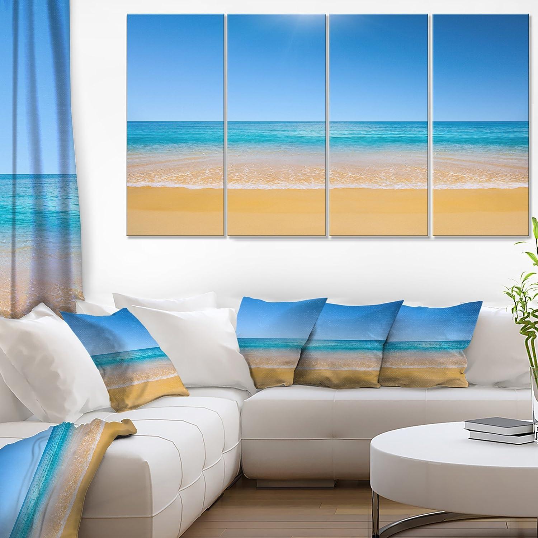Designart 4 Piece Dark View Of Tropical Beach Seashore Photo Canvas Print 48 X 28 Blue Amazon In Home Kitchen