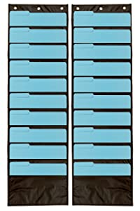 2-Pack Premium Wall Storage Pocket Charts/Organizers (Black) - The Perfect Pocket Chart for Classroom, School, Office or Home Use