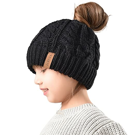 Amazon.com  Winter Hats For Girls Ponytail Beanie Hat Kids Toddler ... a43aad1cfbe
