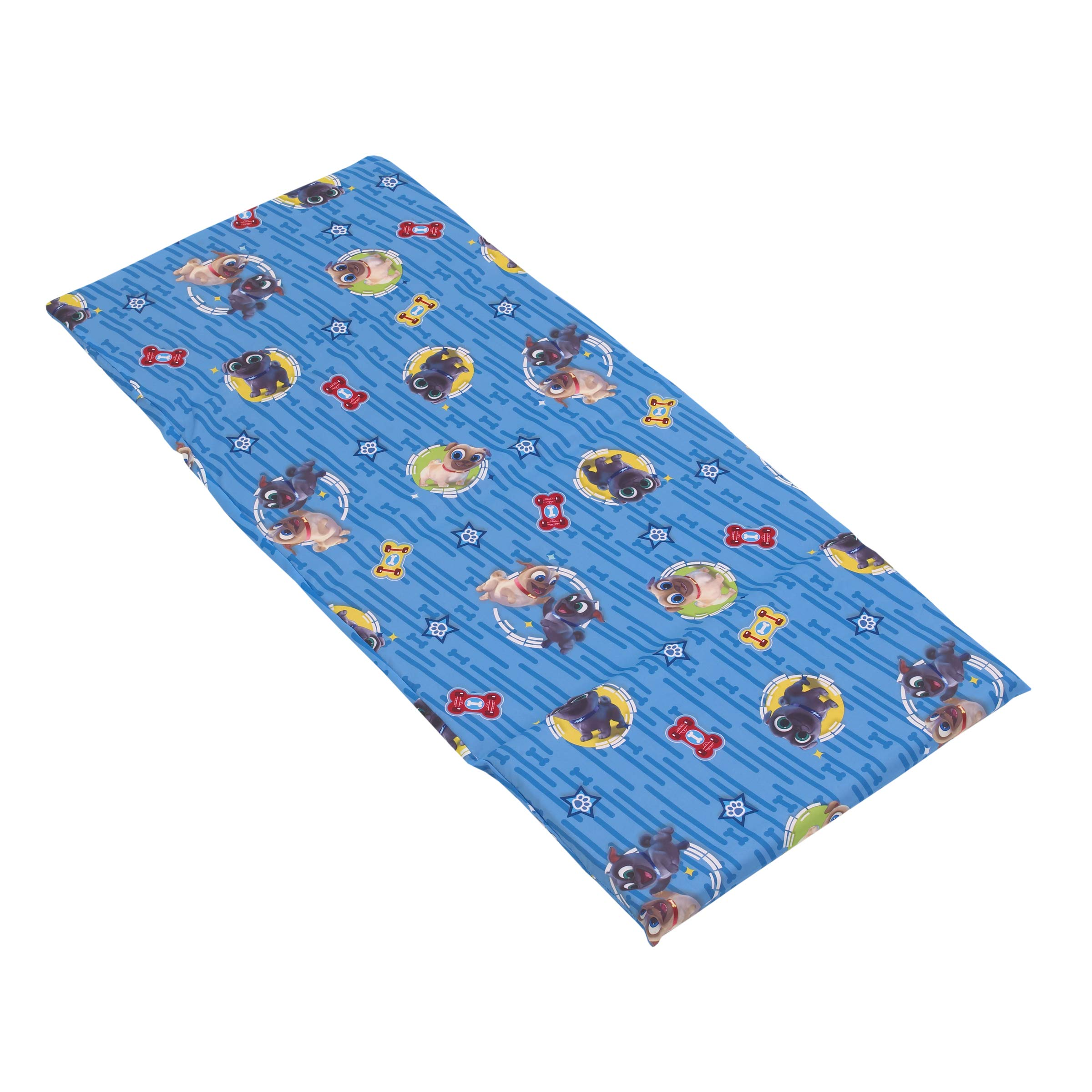 Disney Puppy Dog Pals - Blue, Grey, Yellow & Red Preschool Nap Pad Sheet, Blue, Grey, Yellow, Red