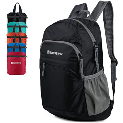 Suissewin Packable Lightweight Backpack Water Resistant Foldable Travel  Hiking Daypack (Black) 0f1645b69a3a0