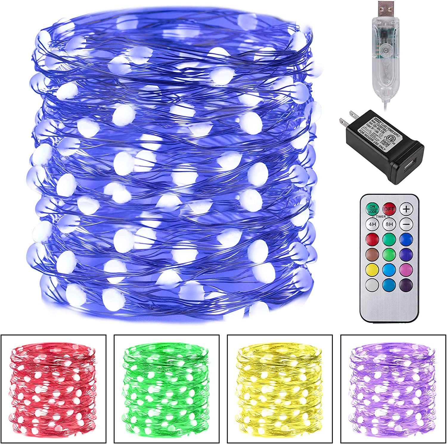 Color Changing Fairy String Lights 33Feet 100 Led Waterproof Firefly Twinkle Christmas Lights with Usb Plug And Remote And Multicolor Light Modes for Craft, Bedroom, Wedding, Holiday Lights Decoration