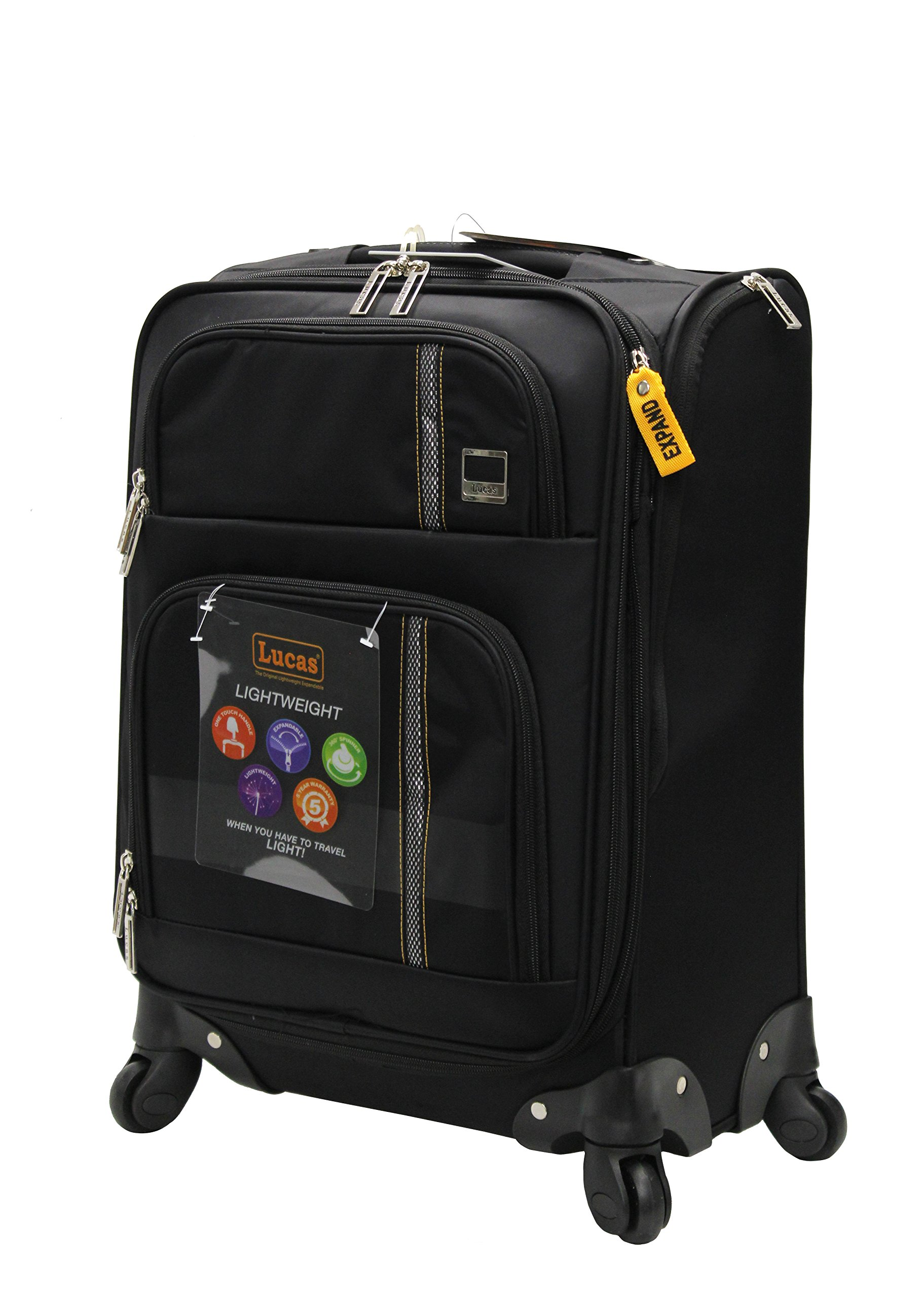 Lucas Luggage Ultra Lightweight Carry On 20 inch Expandable Suitcase With Spinner Wheels (20in, Zone Black)