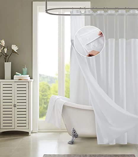 Dainty Home Smart Design Complete 2 In 1 Waffle Weave Hotel Spa Style Fabric Shower Curtain Snap On Off Waterproof Detachable Liner Set 72 Inch Wide X 72 Inch Long Pique White