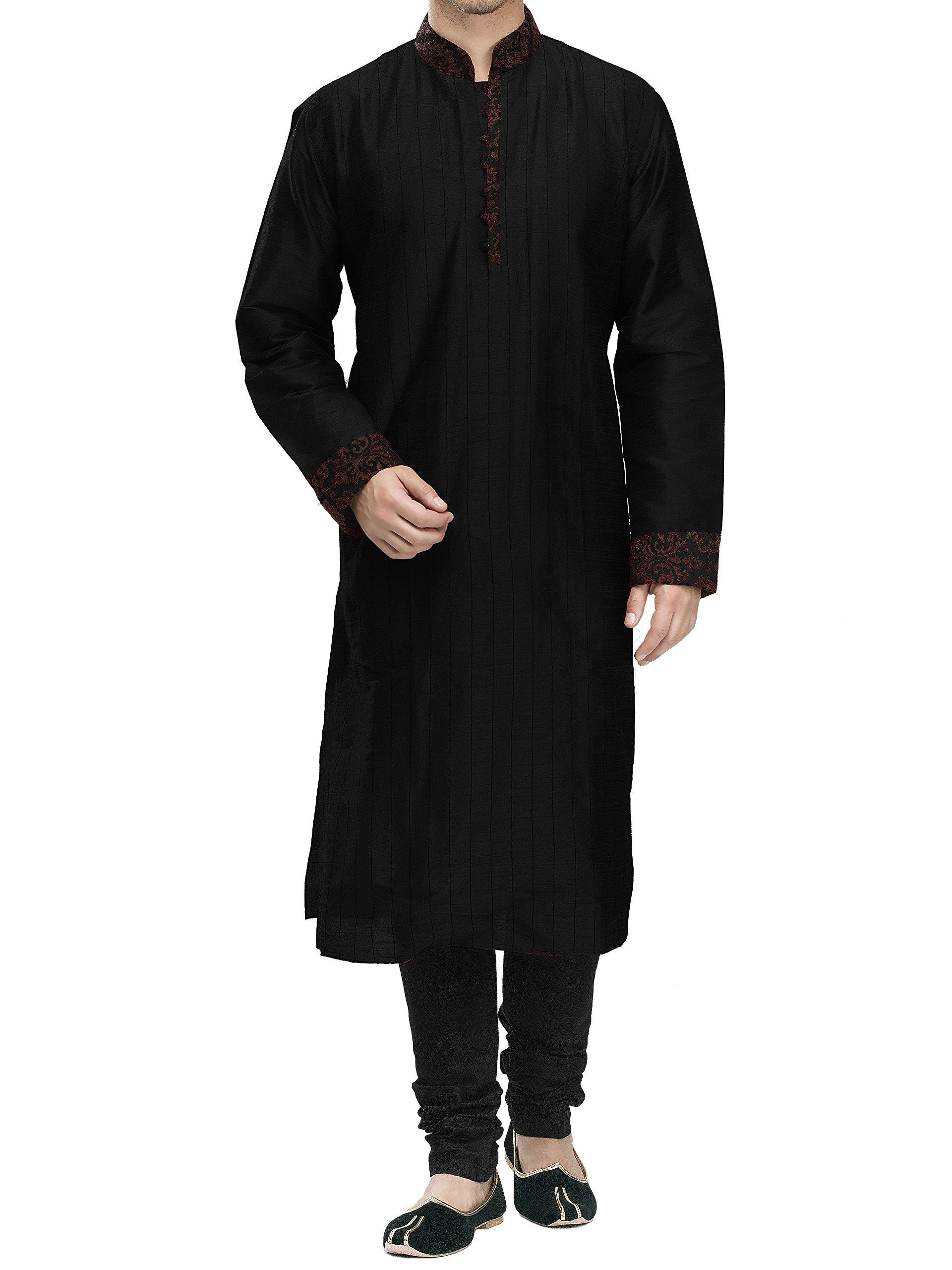 Cotton Kurta Shalwar Brown Embroidery (Black, M)
