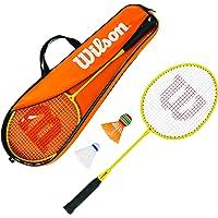 Wilson WRT8756003 Kit de Badminton, Junior Badminton Kit, Unisexe, 2 Raquettes de Badminton, 2 Volants en Plastique et 1 sac de transport Inclus, Orange/Jaune