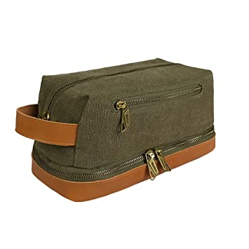 28d2314971aa Amazon.com   Becko Travel Toiletry Dopp Kit Travel Shaving Grooming Bag  with Carry Handle for Men and Women (Green)   Beauty