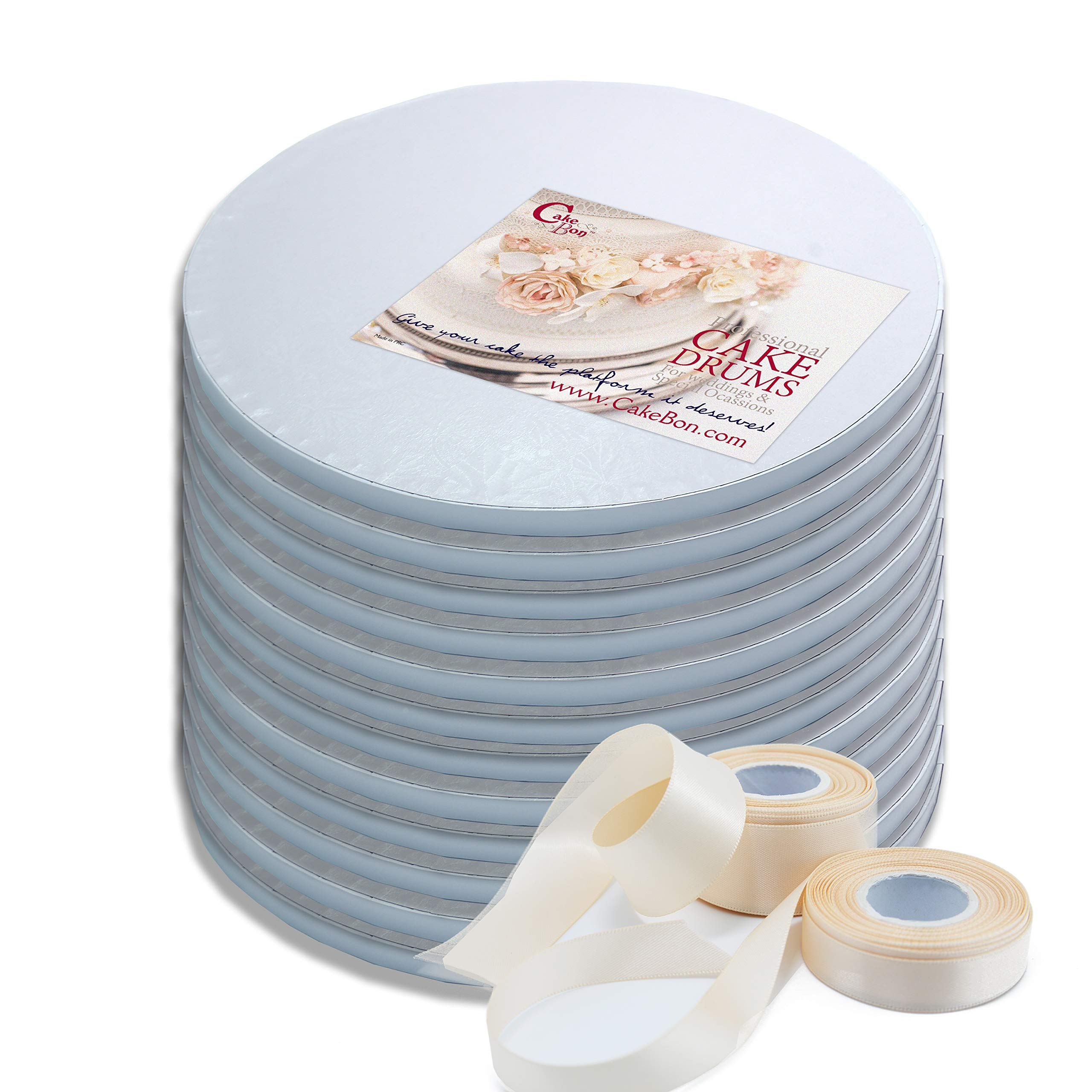 Cake Drums Round 12 Inches - Sturdy 1/2 Inch Thick - Professional Smooth Straight Edges - FREE Satin Cake Ribbon (White, 12-Pack)