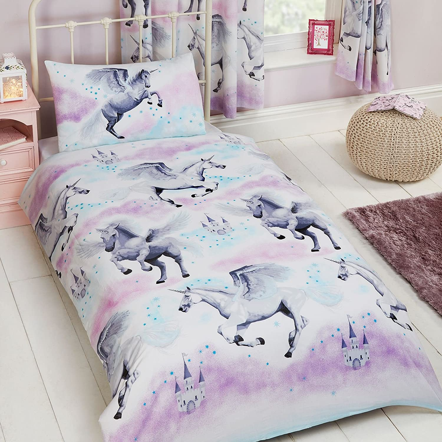 Price Right Home Stardust Unicorn Teal/Purple Junior Duvet Cover and Pillowcase Set + Matching Curtains Fully Lined 66x72 with Tie Backs Rapport