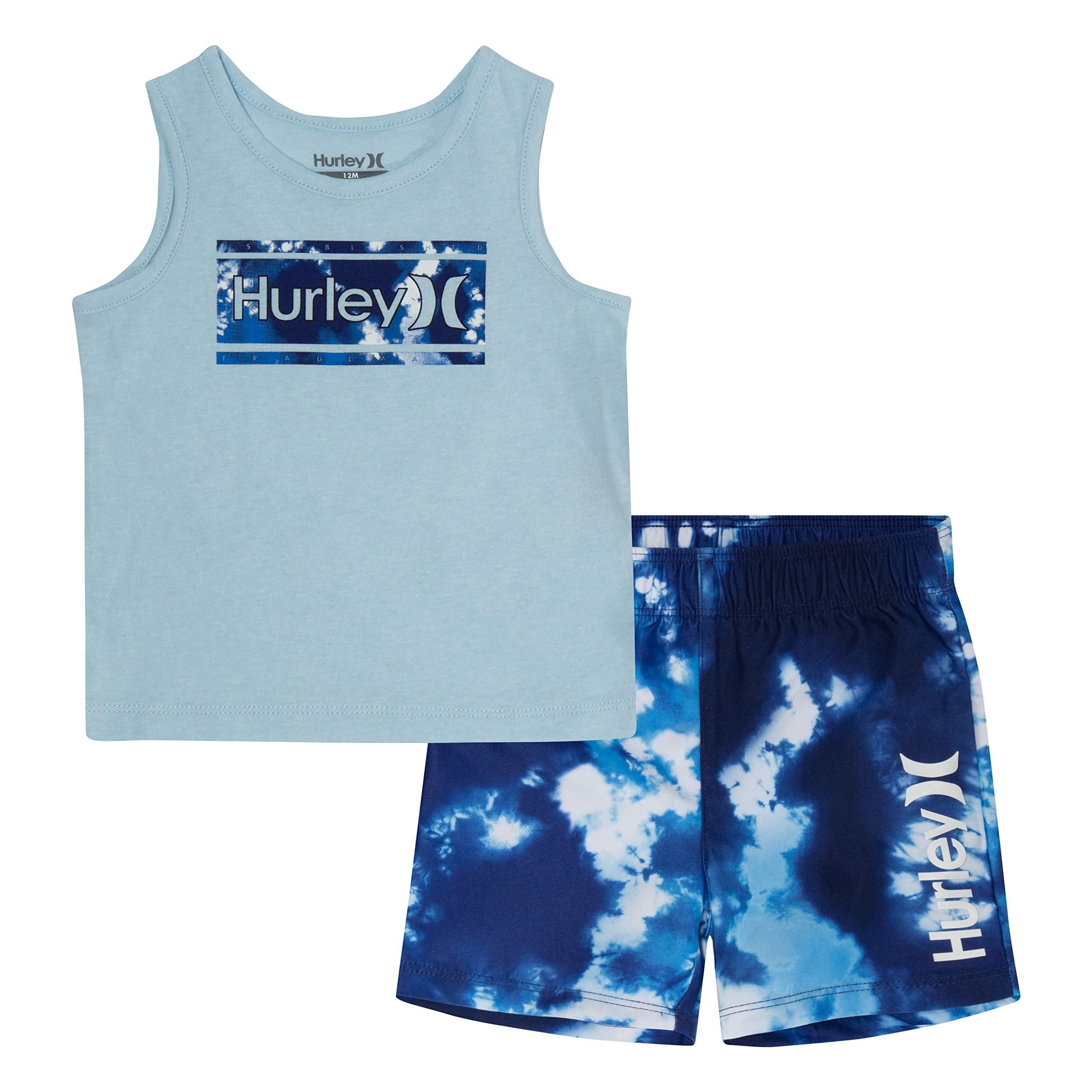 Hurley Boys' Little' Tank Top and Shorts 2-Piece Set, Deep Royal Blue Tie Die, 4