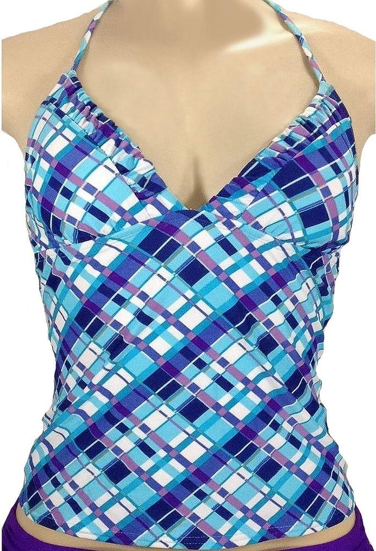 Candies Girls Classic Triangle Halter Tankini Blue Blocks