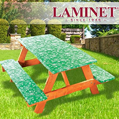 LAMINET Deluxe Picnic Table Covers - Set of 3 - Tonal Line Work - Green : Garden & Outdoor