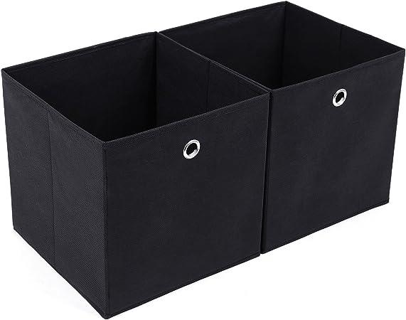 SONGMICS Juego de 2 Cajas de Almacenaje, Cubos de Tela Plegable, 30 x 30 x 30 cm, Nergo RFB02H: Amazon.es: Hogar