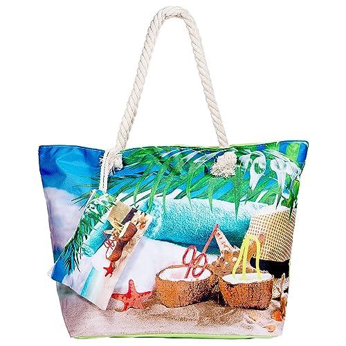 WolinTek Bolsa de Playa de Lona Mujer Grande, Bolsa de Playa Grande con Cremallera para Mujeres y Niñas