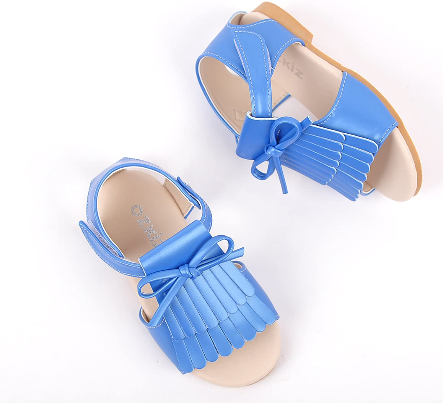 Ozkiz Little Girls Casual Mary Jane Flats Dress Shoes with Ribbon