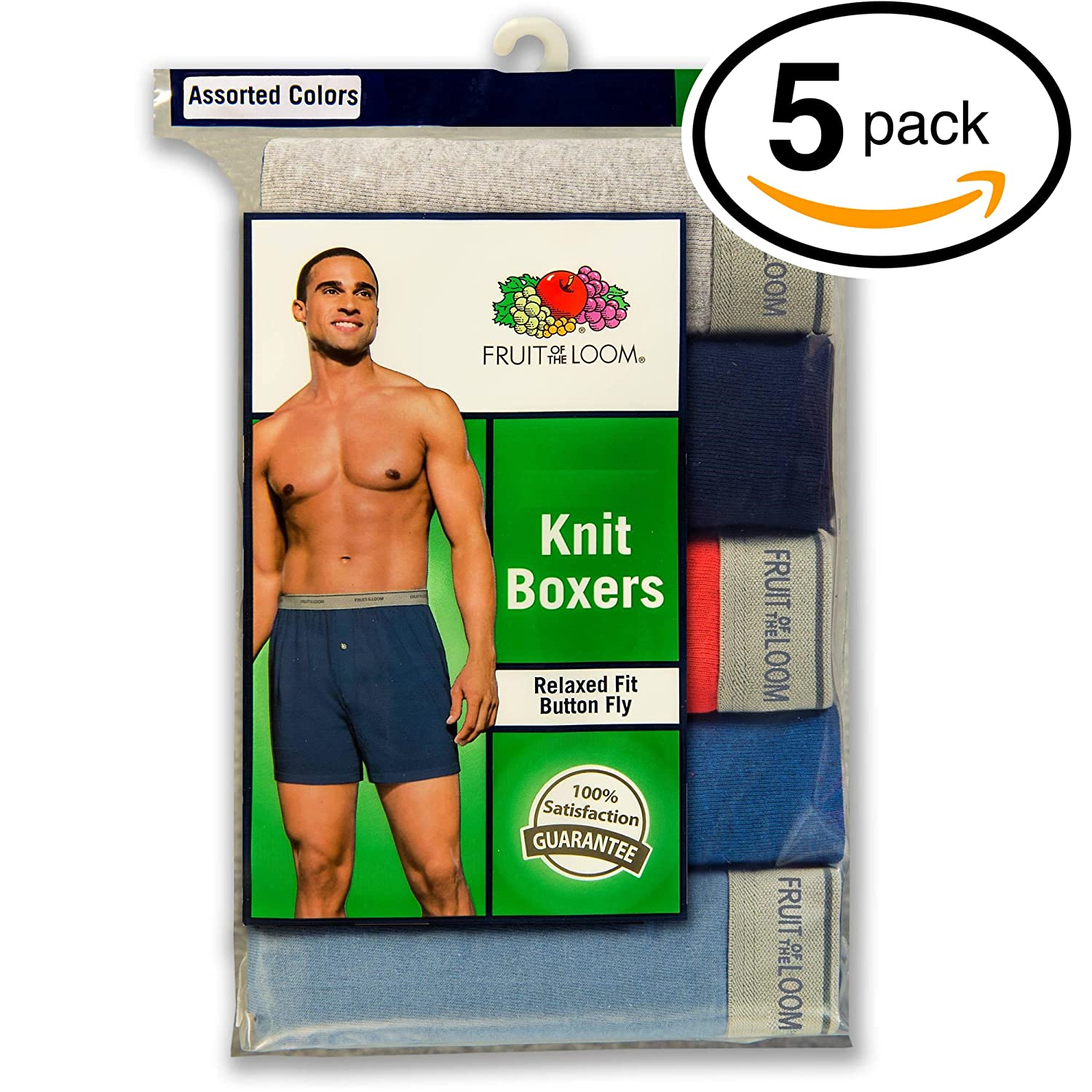 Fruit of the Loom Men's 5-Pack Soft Stretch Knit Boxer - Colors May Vary 5P540