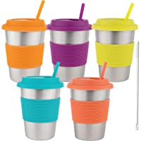 Homeries Kids Stainless Steel Cups Tumbler with Silicone Lid & Straws (Set of 5)   Ecofriendly Drinking Tumblers for…