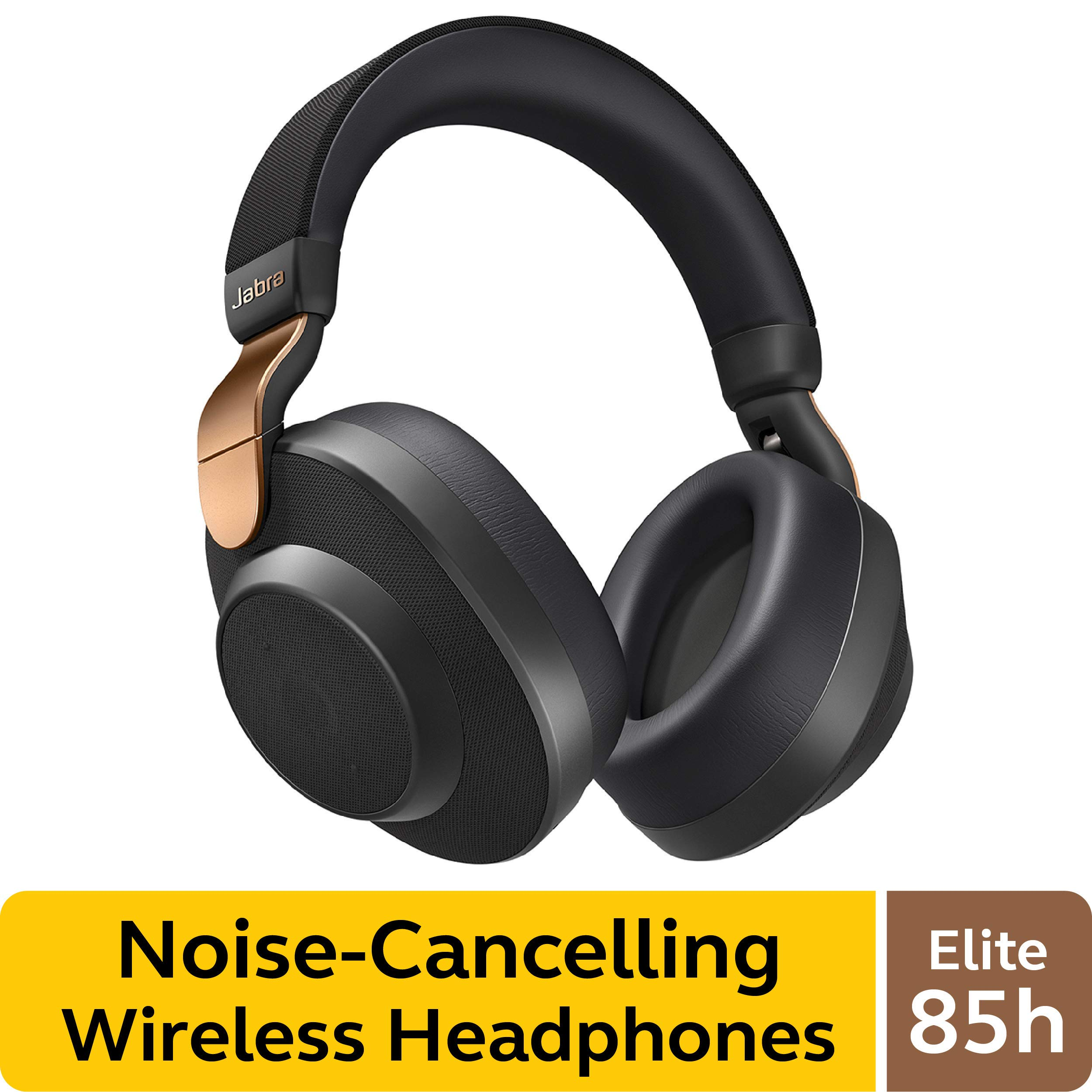 Jabra Elite 85h Wireless Noise-Canceling Headphones, Copper Black - Over Ear Bluetooth Headphones Compatible with iPhone & Android - Built-in Microphone, Long Battery Life - Rain & Water Resistant by Jabra