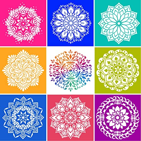 9 Pieces Mandala Painting Stencils, Reusable Stencil Laser Cut Painting Template Wall Floor Tile Fabric Furniture Stencils for Crafts Projects Home Decor (6 x 6 Inch)